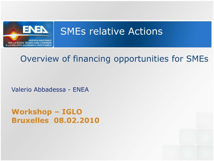 SMEs relative Actions