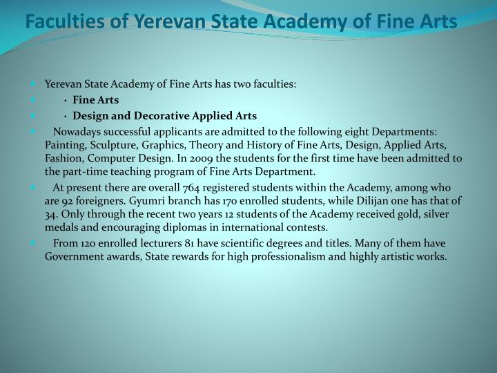 Faculties of Yerevan State Academy of Fine Arts