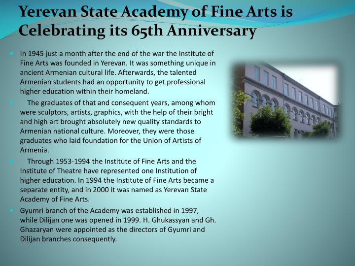 Yerevan State Academy of Fine Arts is Celebrating its 65th Anniversary