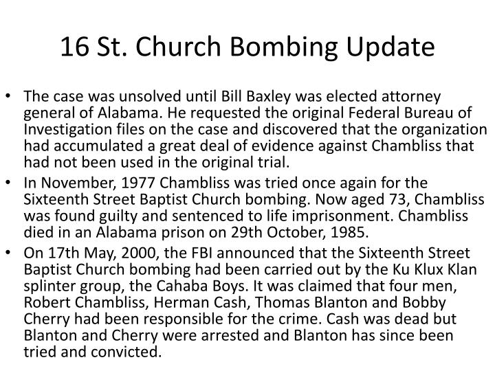 16 St. Church Bombing Update