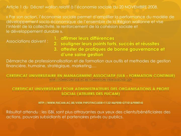 Article 1 du  Décret wallon relatif à l'économie sociale du 20 NOVEMBRE 2008