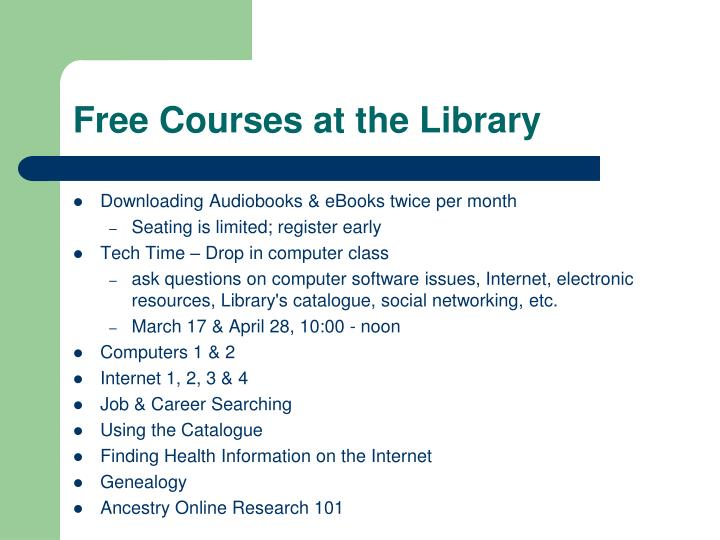 Free Courses at the Library