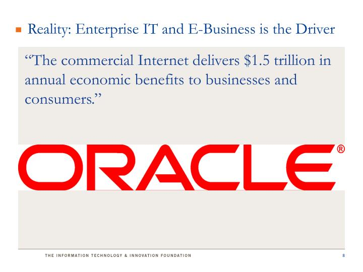 Reality: Enterprise IT and E-Business is the Driver