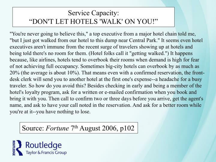 Service Capacity: