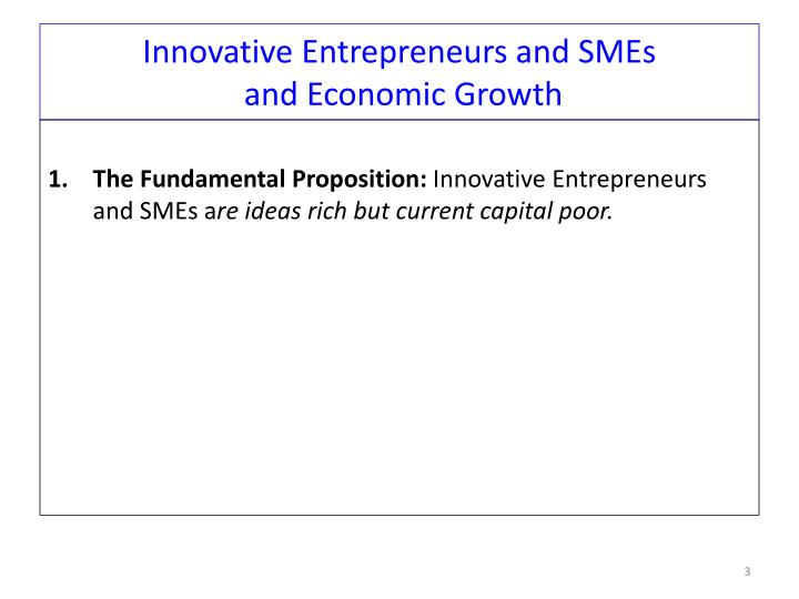 Innovative Entrepreneurs and SMEs