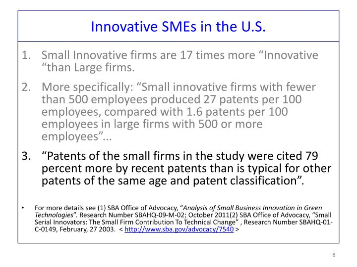 Innovative SMEs in the U.S.