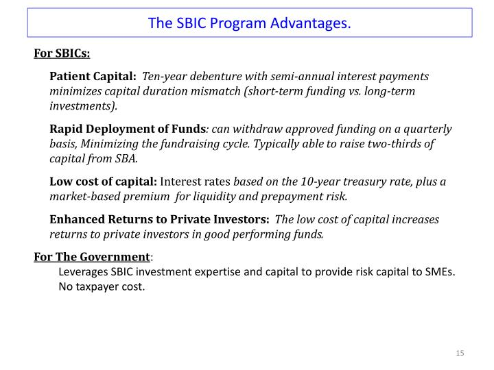 The SBIC Program Advantages.