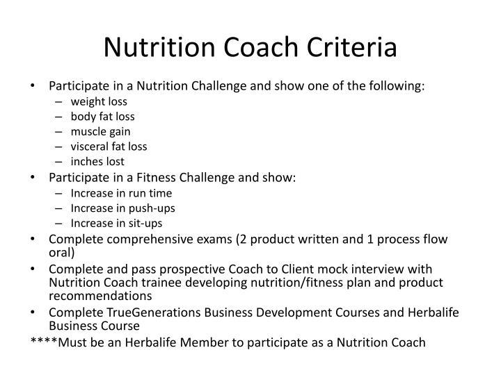Nutrition Coach Criteria