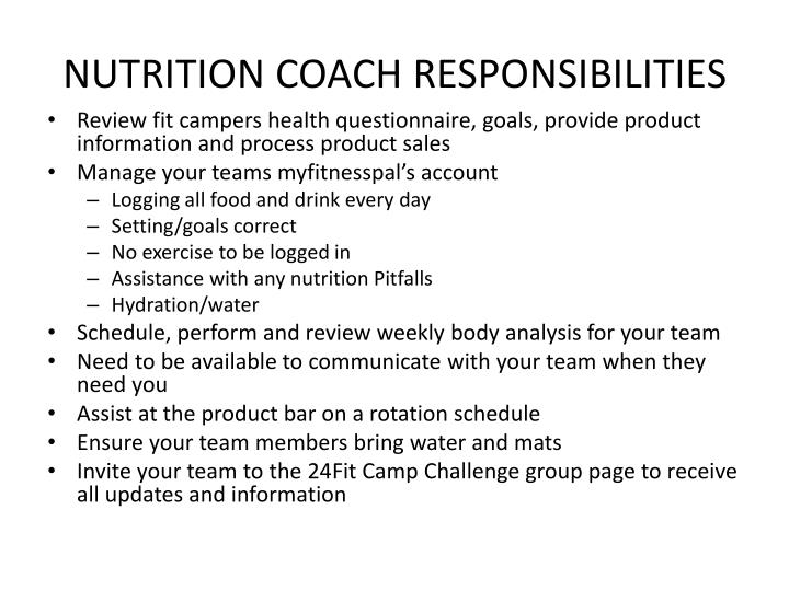 Nutrition coach responsibilities