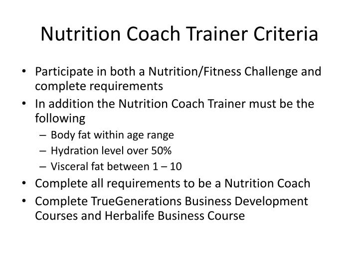 Nutrition Coach Trainer Criteria