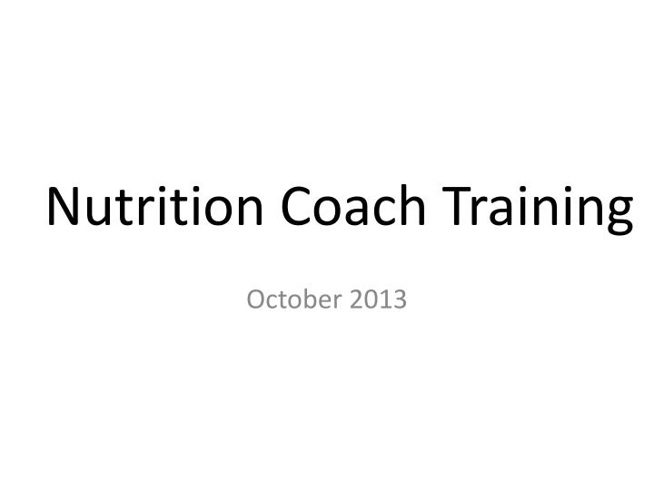 Nutrition coach training