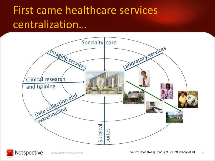First came healthcare services centralization…