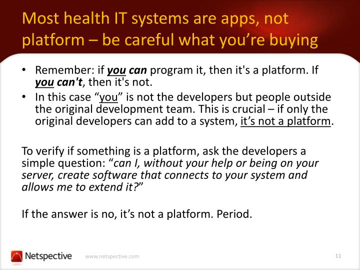 Most health IT systems are apps, not platform – be careful what you're buying