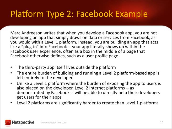 Platform Type 2: Facebook Example