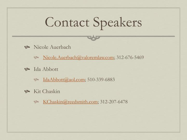 Contact Speakers