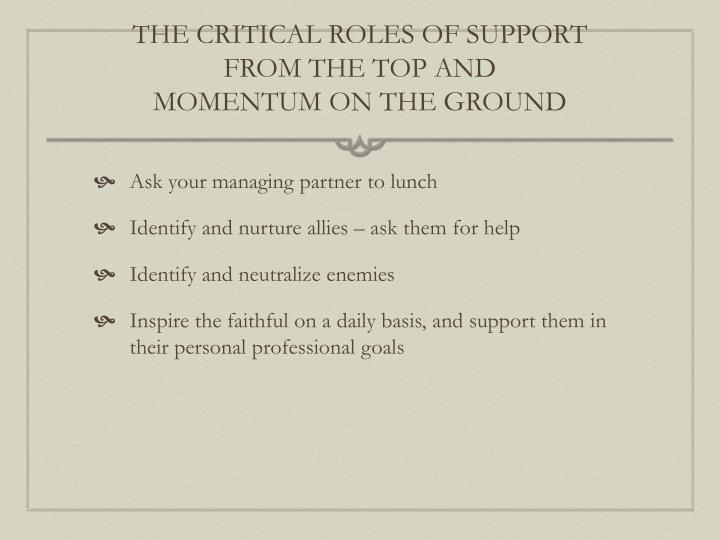 THE CRITICAL ROLES OF SUPPORT