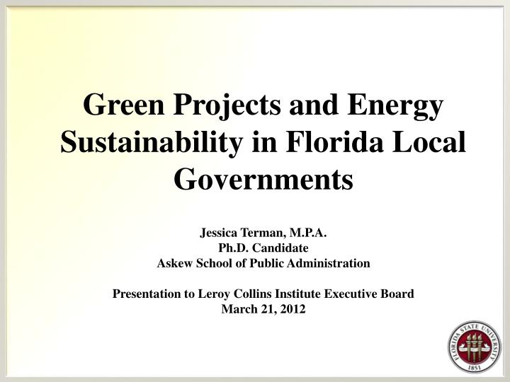 Green Projects and Energy Sustainability in Florida Local Governments