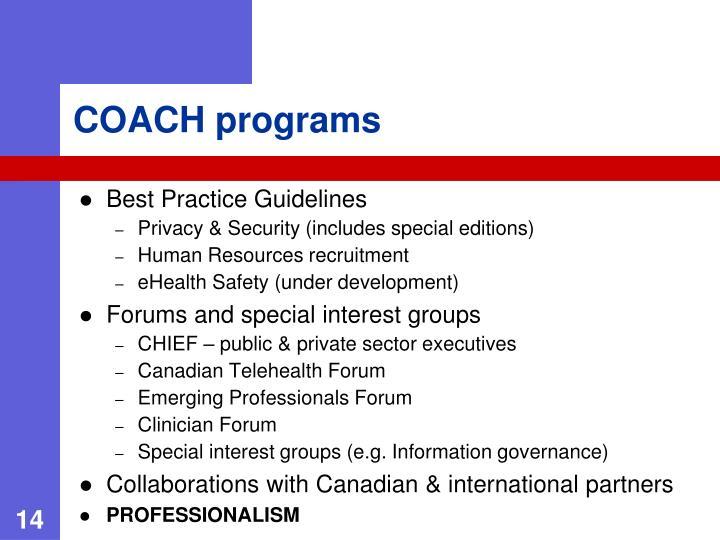 COACH programs