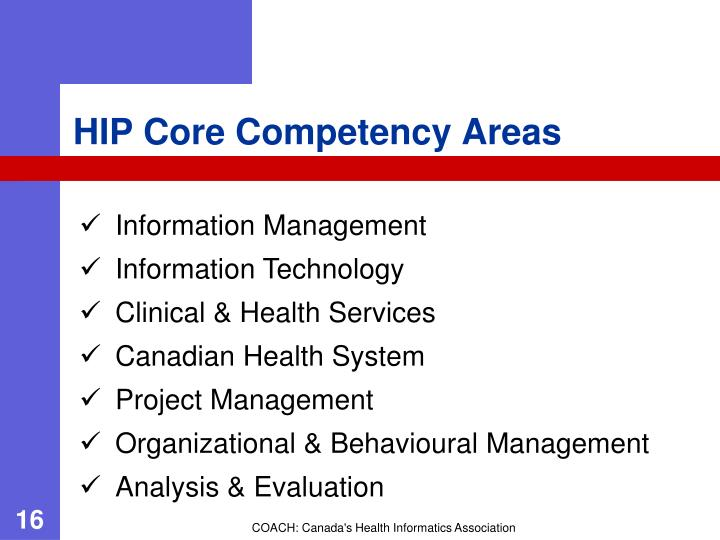 HIP Core Competency Areas