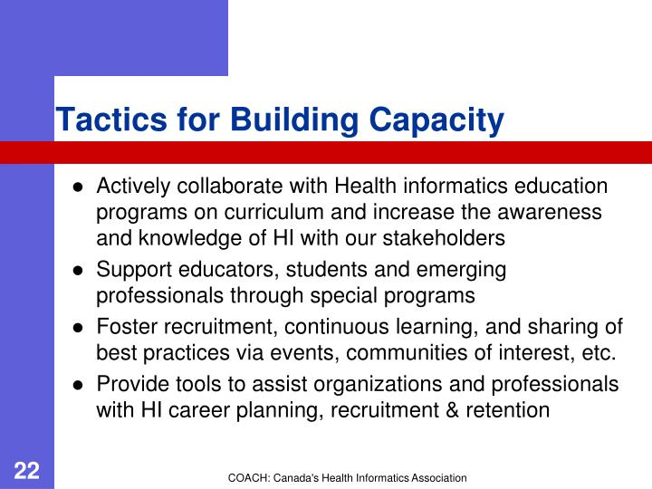 Tactics for Building Capacity