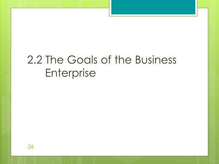 2.2 The Goals of the Business Enterprise