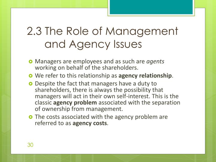 2.3 The Role of Management and Agency Issues