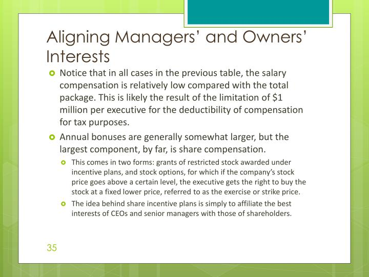 Aligning Managers' and Owners' Interests