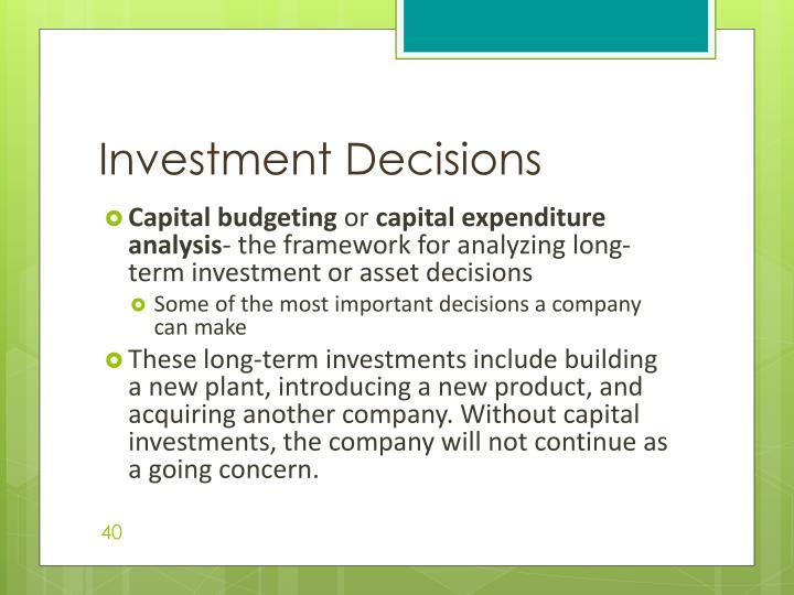 Investment Decisions