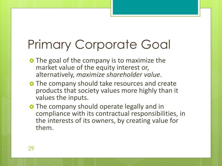 Primary Corporate Goal