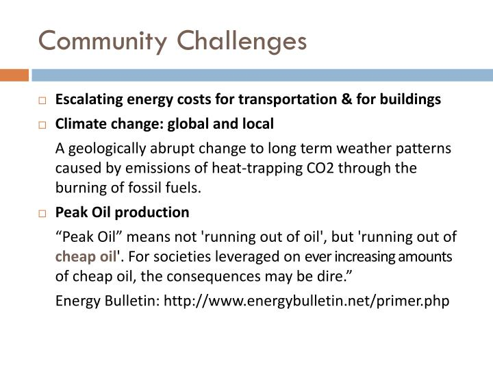 Community Challenges