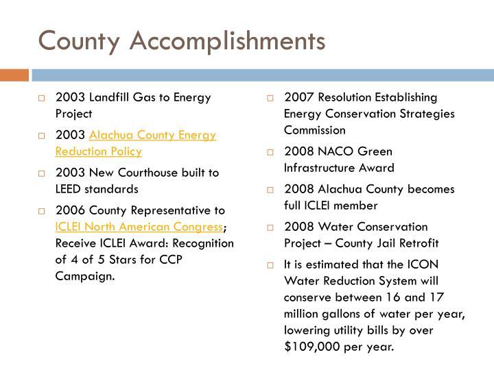 County Accomplishments