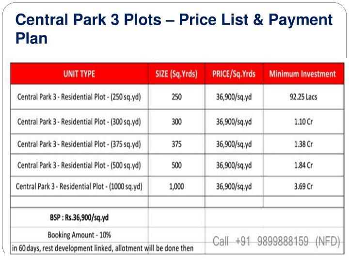 Central Park 3 Plots – Price List & Payment Plan