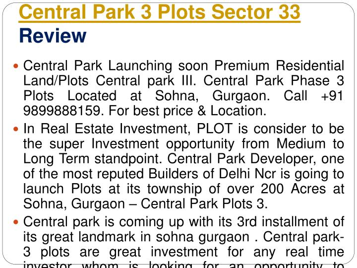 Central Park 3 Plots Sector