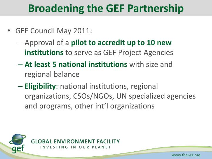 Broadening the GEF Partnership