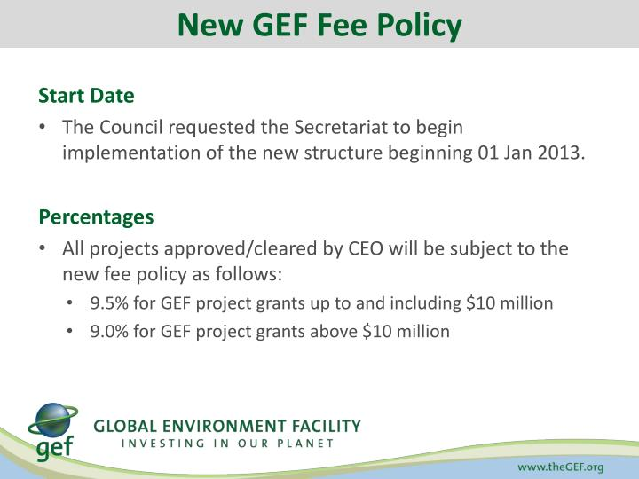 New GEF Fee Policy