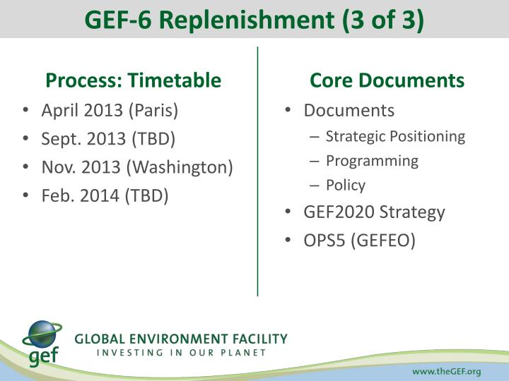 GEF-6 Replenishment (3 of 3)