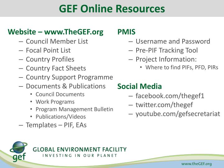 GEF Online Resources