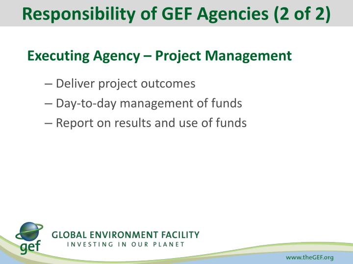Responsibility of GEF