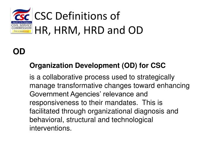 CSC Definitions of