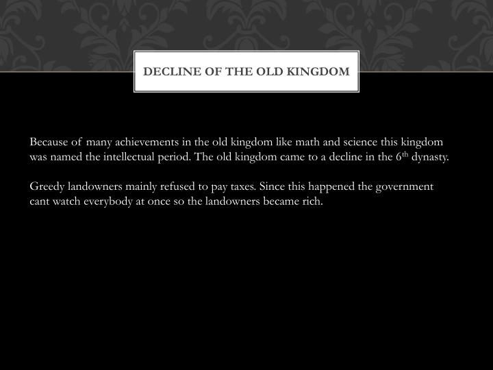 Decline of the old kingdom