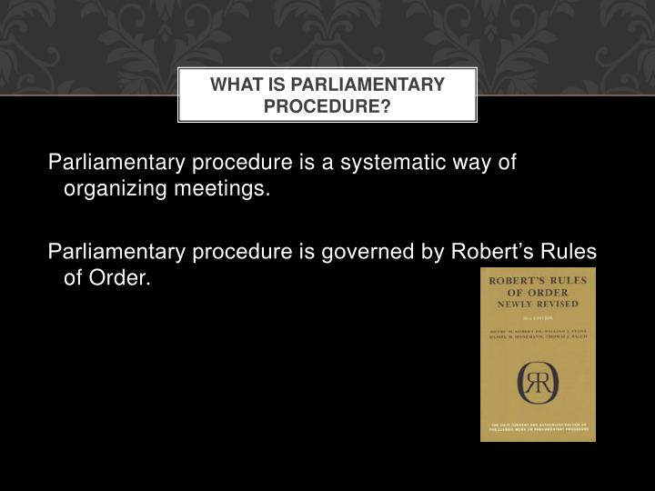 What is parliamentary procedure