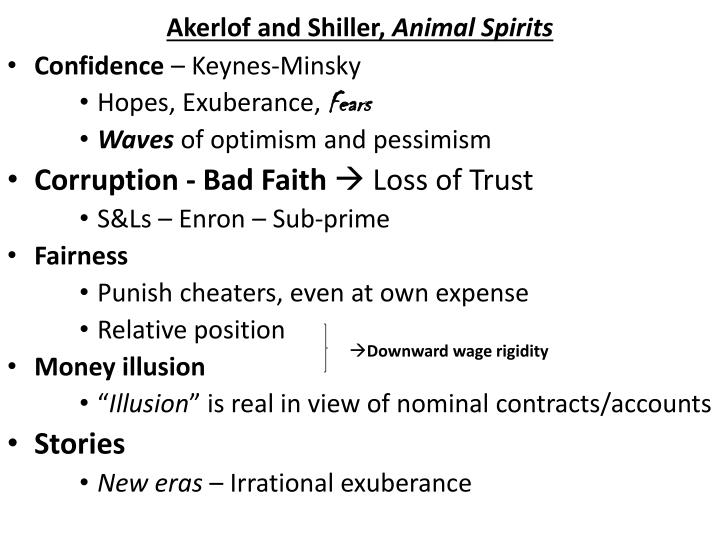 Akerlof and shiller animal spirits