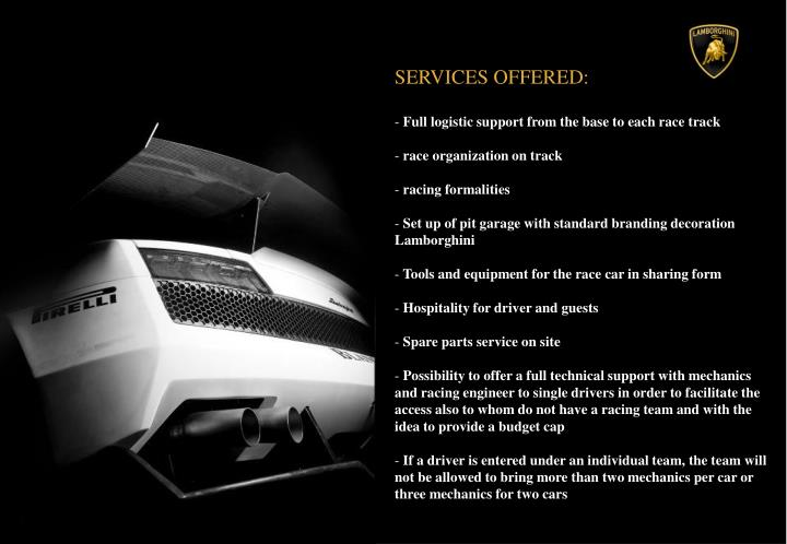 SERVICES OFFERED: