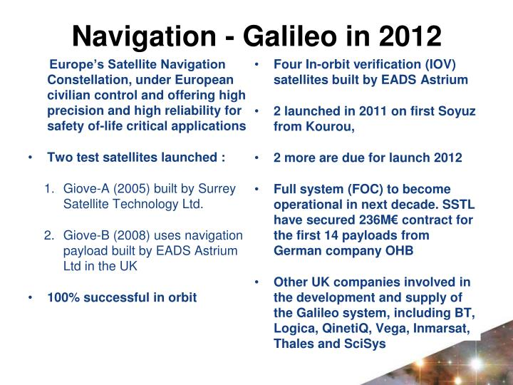 Navigation - Galileo in 2012