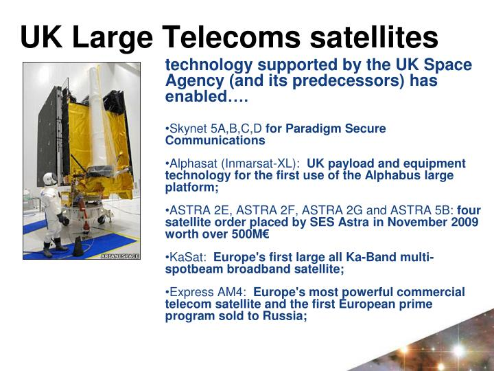 UK Large Telecoms satellites