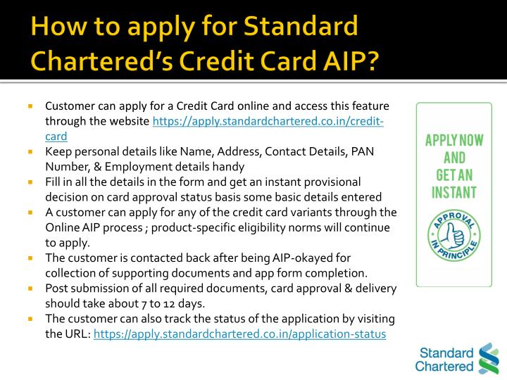 How to apply for Standard Chartered's Credit Card AIP?