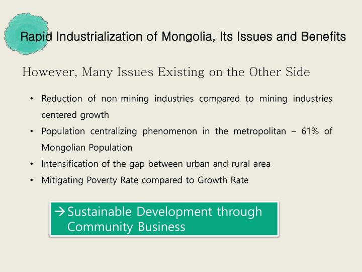 Rapid Industrialization of Mongolia, Its Issues and Benefits