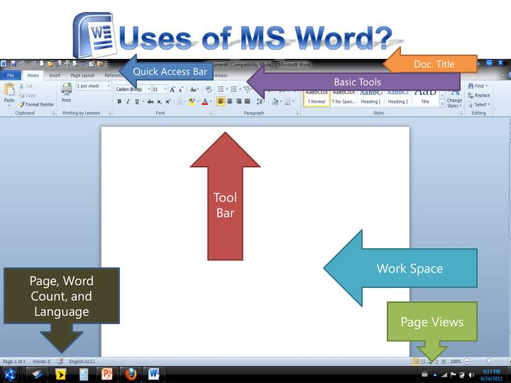 Uses of MS Word?