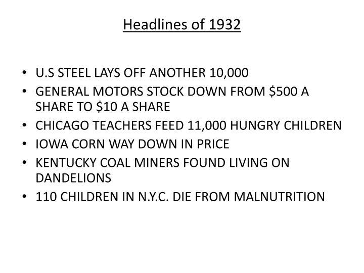 Headlines of 1932