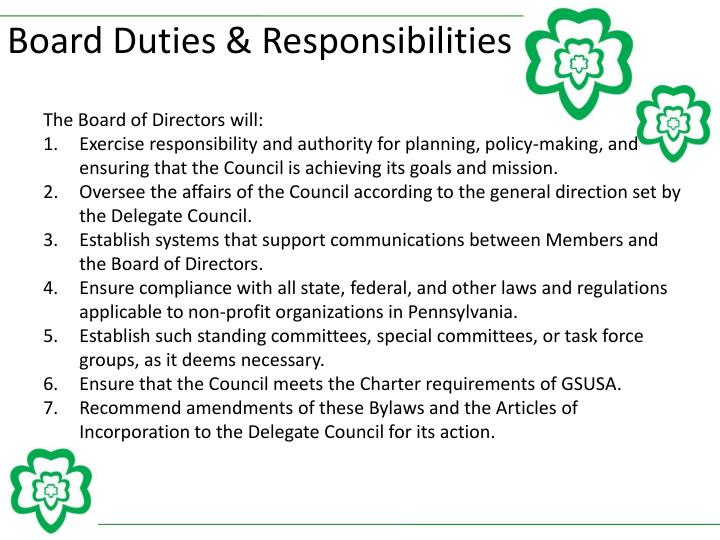 Board Duties & Responsibilities